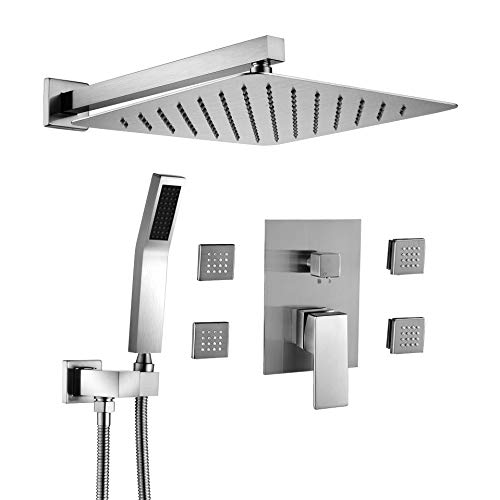 BST NER19008LS Shower Body Sprays Systems, 10 Inch Rian Shower Wall Mounted, All Metal Shower Faucet Set, Contain Rougn In Shower Valve, Brushed Nickel