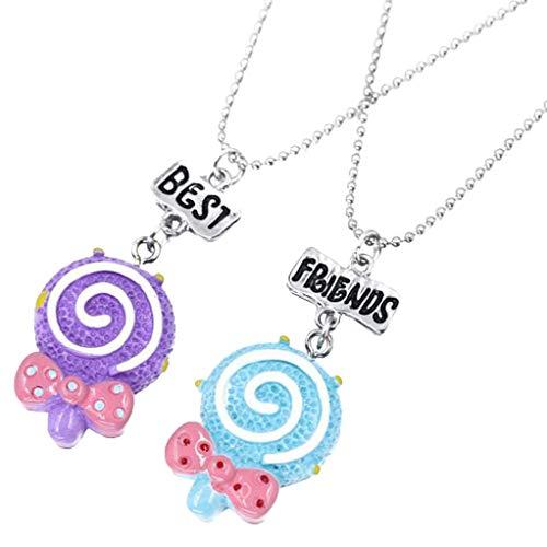 CliPons Cute Lollipop Magic Staff Pendant Princess Necklace Best Friends Jewelry Set for Kids Girls