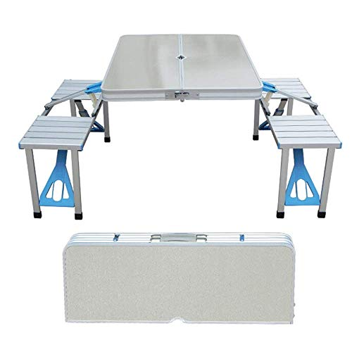 N/Z Daily Equipment Folding Camping Table with Adjustable Height Foldable Picnic Table for Outdoor Kitchen Garden Parties Aluminum Alloy Thick Table and Chair Portable Barbecue Table C