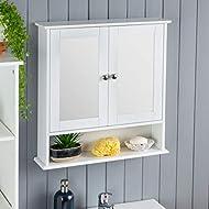 CHRISTOW White Double Mirror Wall Mounted Cabinet, Wooden Bathroom Storage Furniture, 2 Door Cupboar...