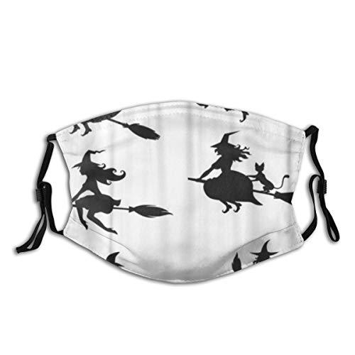 KOSALAER Face Cover Hexe der Schattenbild-Schwarzweiss-Halloween-Hexen Wiederverwendbare Anti-Staub-Mund-Bandanas mit 2 Filtern