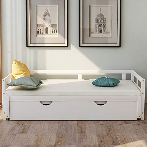 SOFTSEA Extending Twin to King Daybed Frame with Trundle, Twin Size Bed Frame No Box Spring Needed (White)