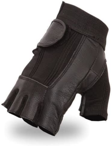 Motorcycle Mens Fingerless Spandax NEW before selling Leather Gel with Gloves Palm Challenge the lowest price of Japan ☆