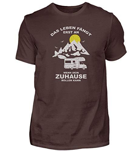 Geschenkidee für Campingfreunde. Mit dem Wohnmobil unterwegs, Caravan oder Zelt - Herren Shirt -S-Braun
