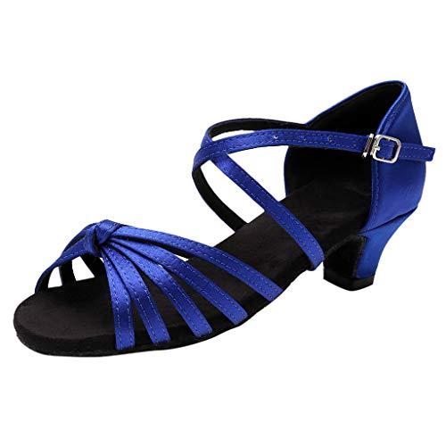 Sandales Danse Fille Chaussures de Danse Latine Tango Sandales Chaussure à Talon Bout Ouvert Chaussures de Pratique Chaussures de Princesse Ceremonie Enfant Nu-Pieds(27,Bleu)