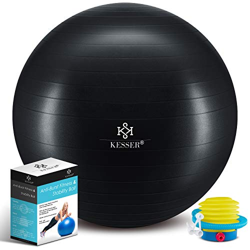 KESSER® Gymnastikball mit Luftpumpe Pumpe - Dicker Yogaball 65cm BPA-Frei | Sitzball Büro Anti-Burst als Fitness Yoga Core Büro-Stuhl als Fitness Kleingeräte, Balance Stuhl Gym-Home-Büro, Schwarz