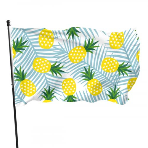 Tropical Palm Tree Leaves Pineapple Decor Flag Adult Flags 3x5 Feet Vibrant Colors Quality Polyester And Brass Grommets