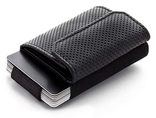 JAIMIE JACOBS Minimalist Wallet Nano Boy Pocket Mini Geldbörse aus Textil mit Zugband schmaler Kartenhalter für Herren und Damen (Lochprägung Schwarz)
