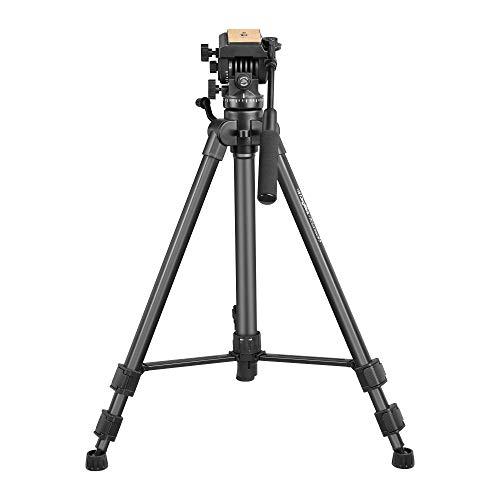DIGITEK® (DPTR 880 PRO) (165 cm) Aluminum Light Weight Tripod | with Fluid Video Head | for DSLR & Video Cameras| Maximum Operating Height: 5.45 Feet | Maximum Load : 6 kgs (Black)