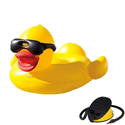 ZWNLL Inflatables for Water Inflatable Yellow Duck Floating Row Swimming Pool Floating Bed Adult Water Animal Mount Children Swimming Ring for Summer Beach Swimming Pool Party