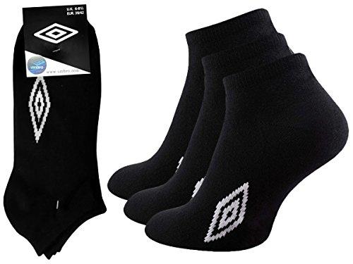 Umbro Sneaker Socken Schwarz oder Weiá 12er Pack, 12 Paar Sportsocken Jogging (39-42, Schwarz)