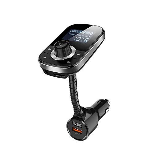 Transmetteur Audio de Voiture Bluetooth FM Transmetteur Audio de Voiture, Carte TF et appels Mains Libres, Carte TF, QC3.0 et Port USB 2.4A Intelligent, entrée/Sortie AUX