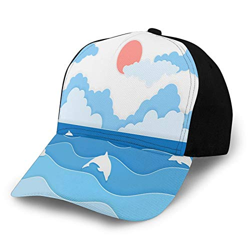 Printed Baseball Cap,Paper Cut Style Artful Seascape with Dolphins On Waves Clouds and Sun At Sky,Hat for Men Women Teens