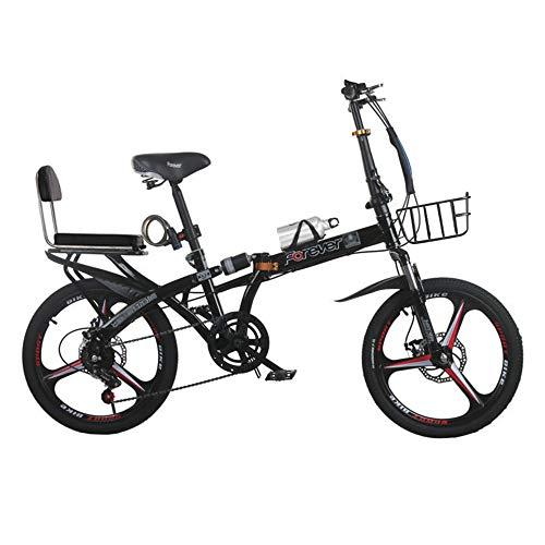 Bicicleta, Bicicleta de Ocio Plegable de 20 Pulgadas, Bicicleta de Viaje de 7 Velocidades, Marco de Acero con Alto Contenido de Carbono, Doble Amortiguador, para Adultos/Adolescentes/B