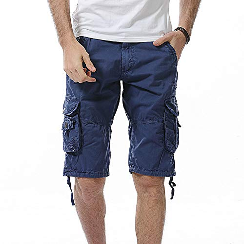Katenyl Pantalones Cortos de Carga Rectos para Hombre Moda Fitness Ejercicio Acampar al Aire Libre Ocio Tendencia cómoda Pantalones Cortos básicos de Todo fósforo 32