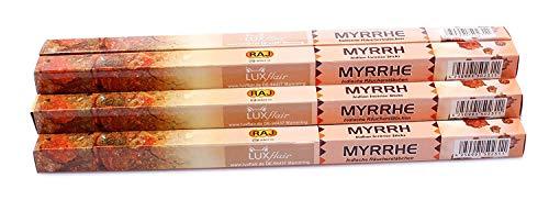 Luxflair Premium Räucherstäbchen Myrrhe, XL Set mit 10 Packungen á 8 Räucherstäbchen (80 Stück), Lange Brenndauer von je ca. 45min