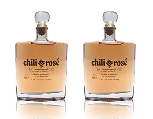 Destille Kaltenthaler Chili Rosé Trauben-Likör mit Chili süß und scharf 2x0,5l