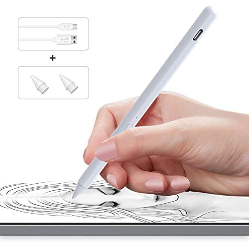 Nefelibata Active Stylus, 100% compatibile con iPad, iPad Mini Pad Pro, iPad Air,penna stilo ricaricabile con sensibilità di pressione 4096, ricarica rapida, corpo penna in lega di alluminio (bianco)