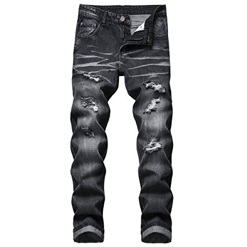 Men's Ripped Jeans, Fashion Stylish Jeans Hole Denim Trouser Pants (Black, 32)