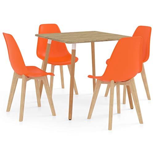 vidaXL Juego de Comedor 5 Piezas Muebles Restaurante Hogar Moderno Cocina Terraza Interior Mesa Silla Asiento Suave con Respaldo Naranja