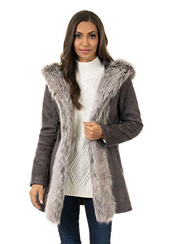 Donna Salyers' Fabulous-Furs Charcoal Faux Suede & Fur Mid-Length Hooded Coat (M) (Charcoal) -  Fabulous Furs