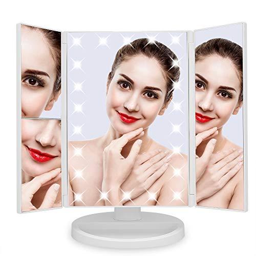 Greensen Schminkspiegel mit Licht Kosmetikspiegel Makeup Spiegel Faltbar Vergrößerungsspiegel Dimmbar 180°Einstellbar Tischspiege mit Touchschalter und USB Wiederaufladbar, Weiß