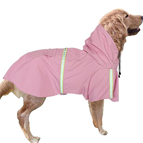 GabeFish Dog Reflective Waterproof Raincoats Pets Puppy Cats Plain Jacket Poncho Rainwear with Hood Pink Large