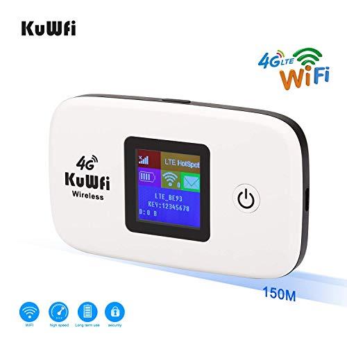 Router 4G con sim portatile,KuWFi Router 4G LTE con slot per schede SIM Lavorare con SIM Card Italia Facile da trasportare utilizzare Outdoor