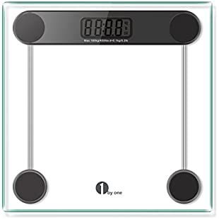 1byone 700UK-0005 Digital Body Weight Bathroom Scale Tempered Glass and Step-on Technology, Clear