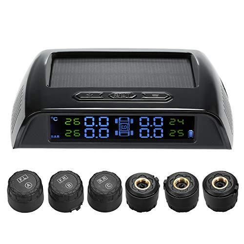 KKmoon TPMS Reifendruckkontrollsystem Solar Reifendruckmesser mit 6 Externe Sensoren LCD Display Alarmfunktion Temperatur Anzeige für 4-6 Reifen Auto RV Truck Tow Trailers