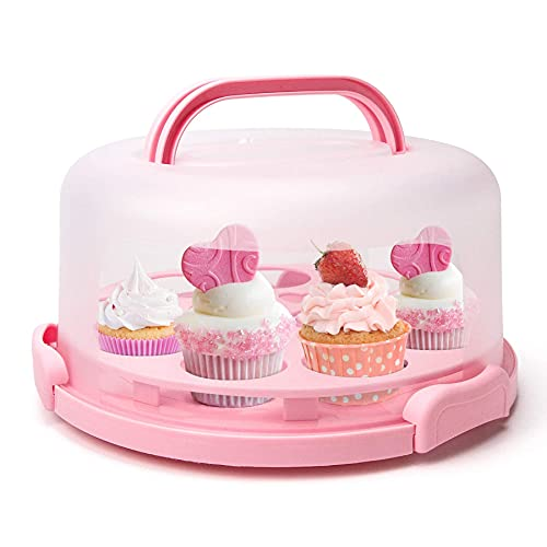 Cake Storage Container with handle, 10inch Cake Carriers with Cupcake Holder, Muffin and Pie Carrier with Cover for Transport(3-lock system), Pink Color