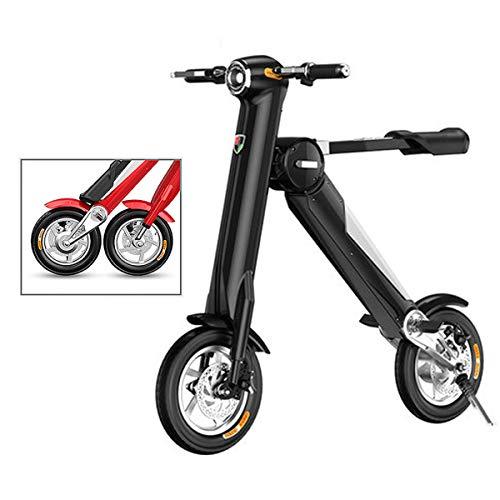 Mini Coche Eléctrico Plegable Batería De Litio para Adultos Bicicleta De Dos Ruedas Portátil Batería De Viaje Coche Iluminación LED (Puede Soportar 180 KG Black