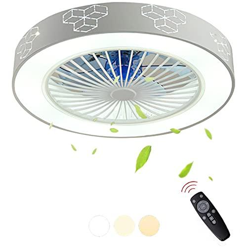 Moderna 72W LED Ventilador De Techo Con Lámpara Con Mando A Distancia Regulable Luz Ventilador Invisible Velocidad Del Viento Ajustable Decoración De Interiores Plafón Iluminación Ø56cm