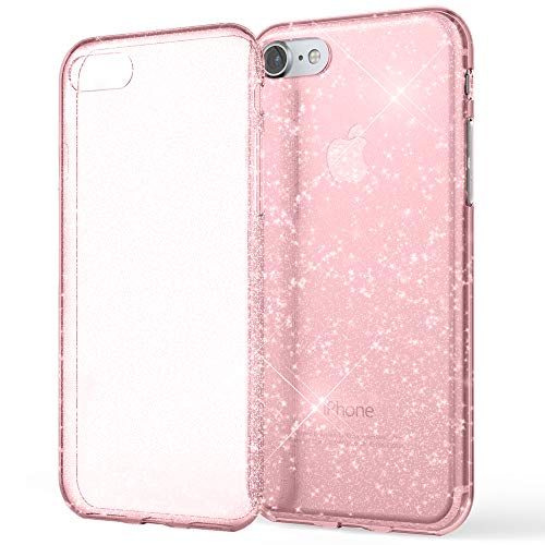 NALIA Glitter Case kompatibel mit iPhone SE 2020/8 / 7 Hülle, Bling Silikon Handyhülle Strass Cover Durchsichtig Dünne Handy-Tasche Schutzhülle Phone Etui Diamond Bumper Soft Skin, Farbe:Pink