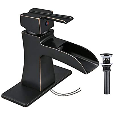 Homevacious Bathroom Faucet Oil Rubbed Bronze Waterfall Vanity Antique Black Single Hole with Pop Up Drain Lavatory Sink Basin Faucets One Handle Mixer Tap with Overflow Supply Line Lead-Free