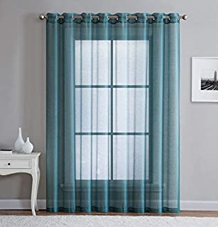 LinenZone - Grommet Semi-Sheer - 1 Extra Wide Patio Curtain Panel - 102 Wide - 96 Inch Long - Ideal for Sliding and Patio Doors - Natural Light Flow Material (Patio 102