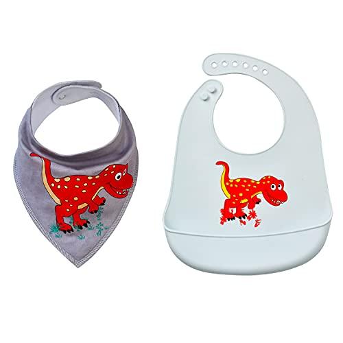 Ulife Mall Baberos de alimentación para bebés y baberos para bebé – Baberos con broches ajustables, baberos de silicona con bolsillo grande para recoger alimentos (2 piezas combinación/dinosaurio azul