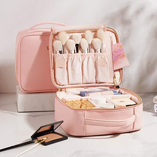 BEGIN MAGIC Travel Makeup Case Pink Makeup Bags Organzier Leather Cosmetic Bag Portable Waterproof