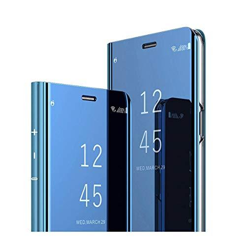 kompatibel Clear View Standing Cover für das Samsung Galaxy A8 2018,Spiegel Handyhülle Schutzhülle Flip Cover Schutz Tasche mit Standfunktion 360 Grad hülle Schwarz (A8 2018, Blau)