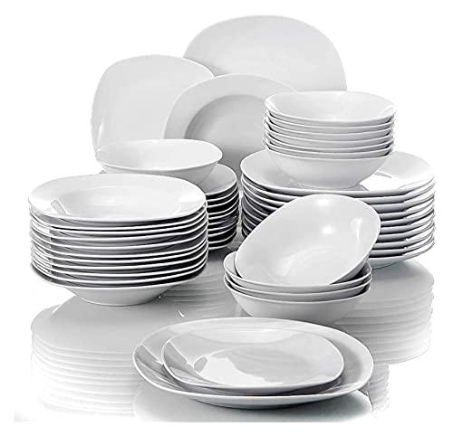 . Set de vajilla de Porcelana de 48 Piezas Conjunto de Cuencos de Cereales Cena Cena Sopa Placas de Postre Establecer Servicio para 12 Persona LingGe