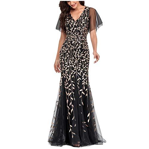 SEEGOU Vestido de mujer para el año, estilo vintage, largo de sirena, para bailes, cuello en V, lentejuelas de tul, largo hasta el suelo, vestido de noche, fiesta, carnaval Negro M