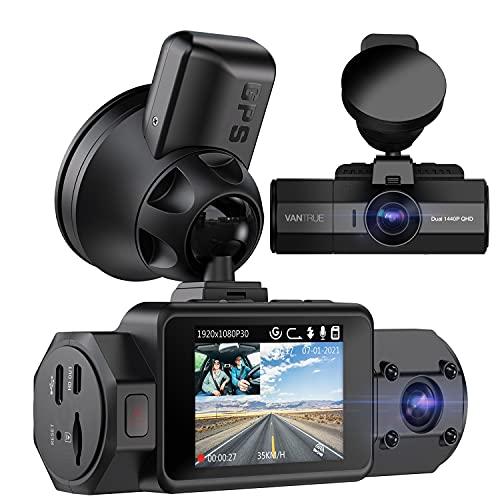 Vantrue N2S 4K Uber Dual Dash Cam con GPS, 1440P frontal y cabina de coche de la cámara, 2 canales detección de movimiento modo de estacionamiento Dashcam con visión nocturna por infrarrojos, grabación de velocidad, condensador, soporte 256GB Max