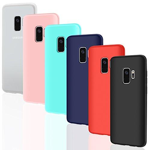 """Leathlux 6 × Custodia Galaxy S9 Cover Silicone Ultra Sottile Morbido TPU Custodie Gel Cover per Samsung Galaxy S9 5.8"""" Rosa, Verde, Rosso, Blu Scuro, Traslucido, Nero"""
