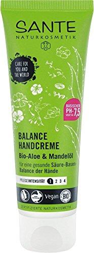 SANTE Naturkosmetik Balance Handcreme, Gesunde Säure-Basen-Balance der Hände, Vegan, Mit Bio-Aloe & Mandelöl, 4x75ml Multipack