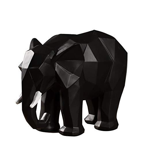 DAJIADS Figura,Figuras,Estatuas,Estatuillas,Esculturas,Forma Animal Sencillo Origami Elefante Home Decoración Arte De Salón Dormitorio Oficina Artesanía,Negro