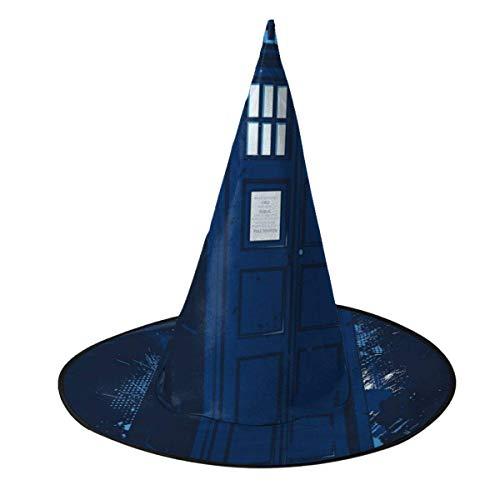 Sombrero de Halloween Viajar en el Tiempo Tardis Doctor Who Sombrero de Bruja Halloween Disfraz Unisex para Vacaciones Halloween Navidad Fiesta de carnavales