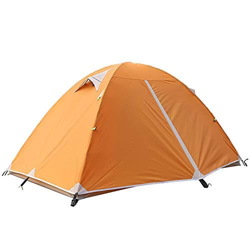 ZXD Tienda de campaña para 2 Personas, Tienda de Camping Ligero Impermeable Anti Viento, Impermeable, Doble Capa, para Caza, Senderismo, Escalada, Viajes,Naranja,Small