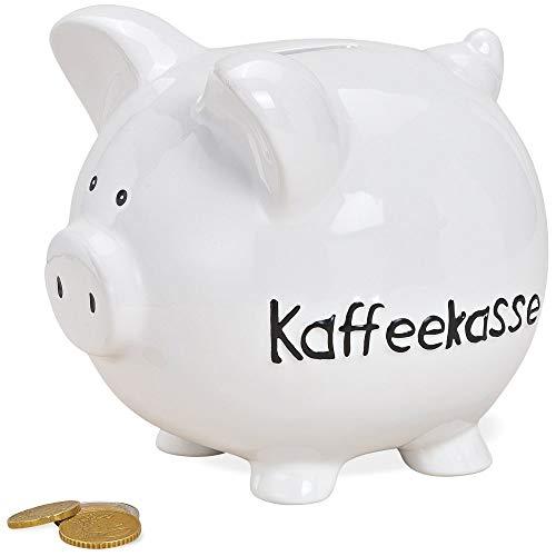 matches21 Sparschwein Spardose Sparbüchse aus Keramik weiß mit Schrift Kaffeekasse in schwarz 1 STK. 13X11x15 cm