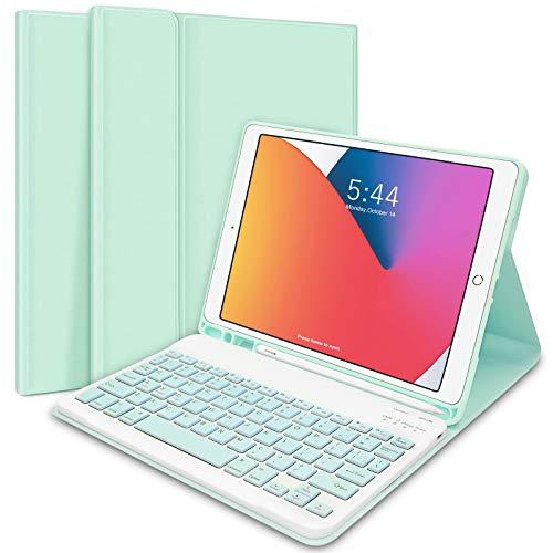 iPad Keyboard Case 10.2' 8th/7th Gen for iPad 2020/2019, Wireless Detachable BT Keyboard Case with Pencil Holder Compatible for iPad 10.2'/ iPad Air 3/ iPad Pro 10.5