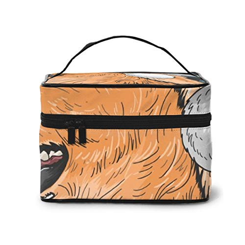 Travel Makeup Cosmetic Bags Girl Toiletry Bags Makeup Santa Claus Dog Puppy Golden